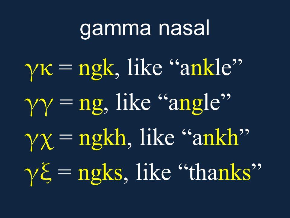 γκ = ngk, like ankle γγ = ng, like angle γχ = ngkh, like ankh