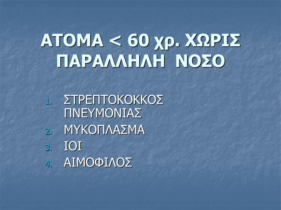 ΑΤΟΜΑ < 60 χρ. ΧΩΡΙΣ ΠΑΡΑΛΛΗΛΗ ΝΟΣΟ