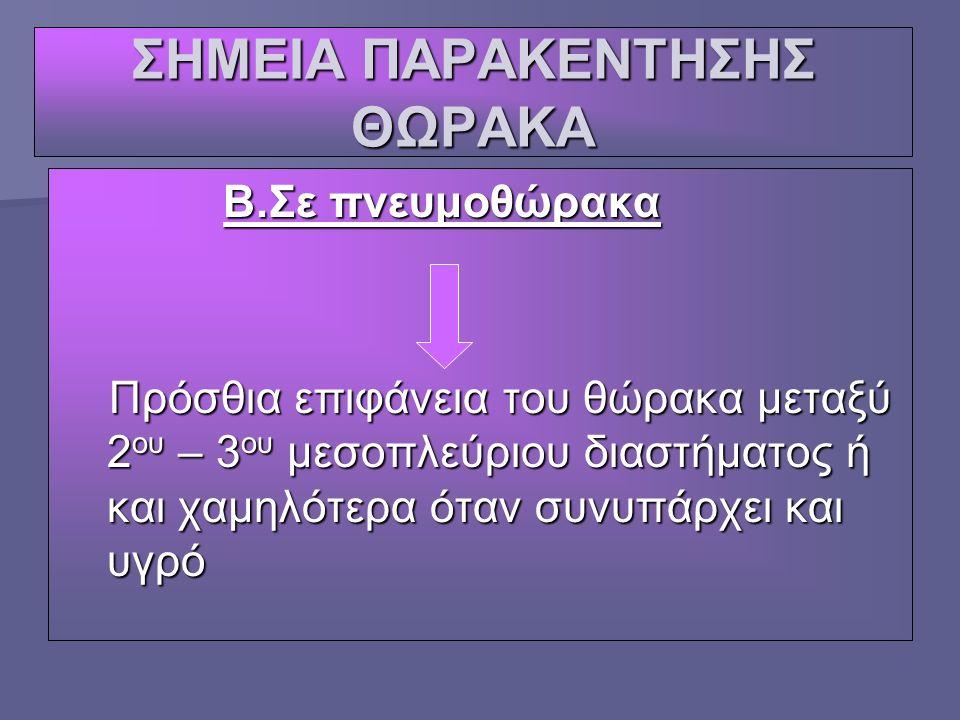 ΣΗΜΕΙΑ ΠΑΡΑΚΕΝΤΗΣΗΣ ΘΩΡΑΚΑ