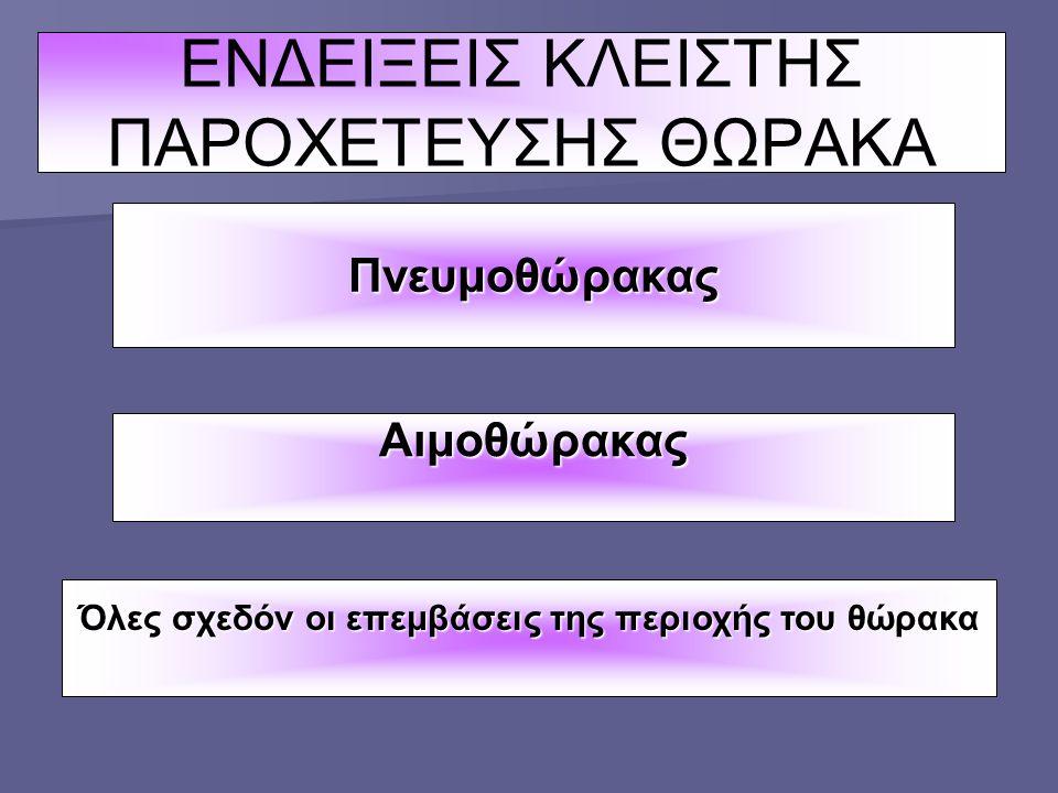 ΕΝΔΕΙΞΕΙΣ ΚΛΕΙΣΤΗΣ ΠΑΡΟΧΕΤΕΥΣΗΣ ΘΩΡΑΚΑ