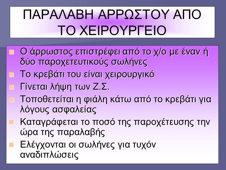 ΠΑΡΑΛΑΒΗ ΑΡΡΩΣΤΟΥ ΑΠΟ ΤΟ ΧΕΙΡΟΥΡΓΕΙΟ