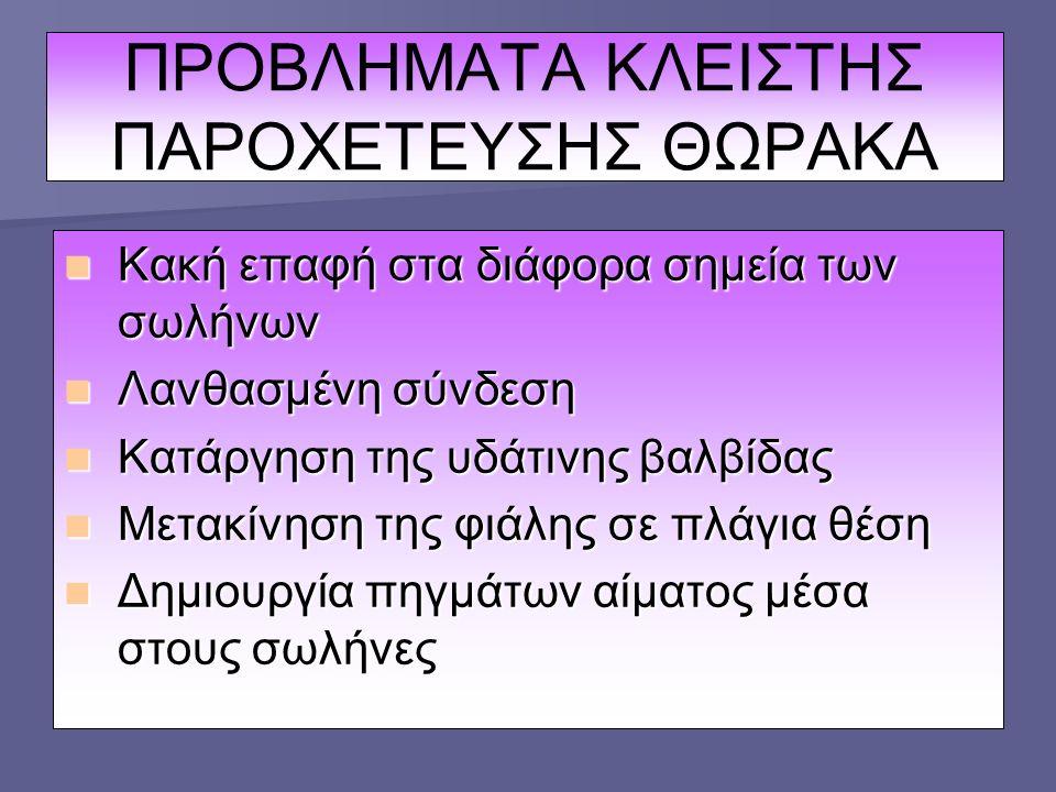 ΠΡΟΒΛΗΜΑΤΑ ΚΛΕΙΣΤΗΣ ΠΑΡΟΧΕΤΕΥΣΗΣ ΘΩΡΑΚΑ