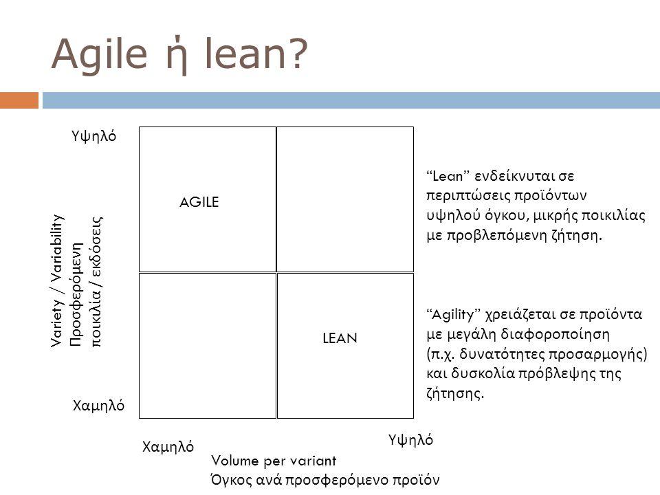 Agile ή lean Υψηλό Lean ενδείκνυται σε περιπτώσεις προϊόντων