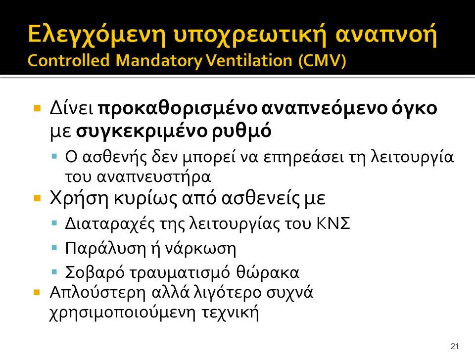 Ελεγχόμενη υποχρεωτική αναπνοή Controlled Mandatory Ventilation (CMV)