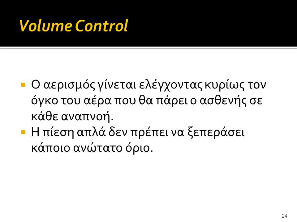 Volume Control Ο αερισμός γίνεται ελέγχοντας κυρίως τον όγκο του αέρα που θα πάρει ο ασθενής σε κάθε αναπνοή.