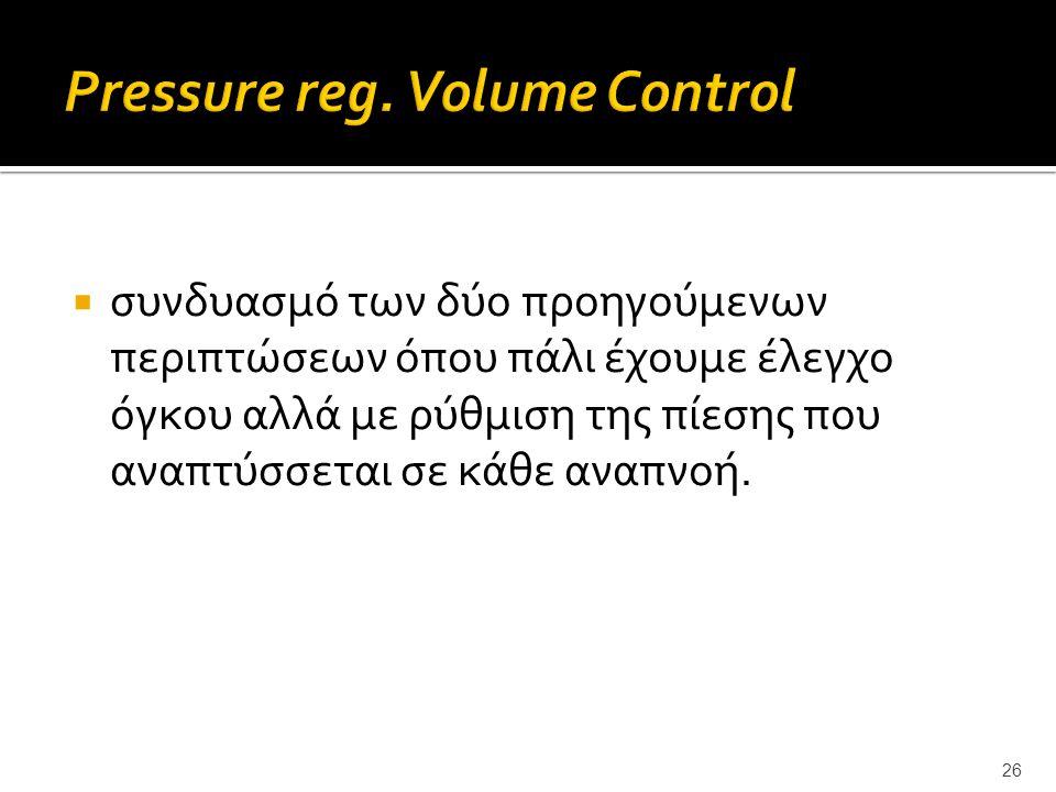 Pressure reg. Volume Control