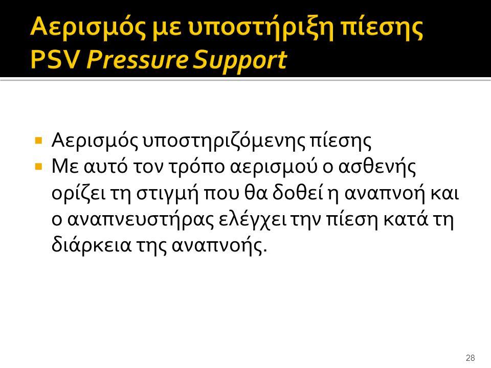 Αερισμός με υποστήριξη πίεσης PSV Pressure Support