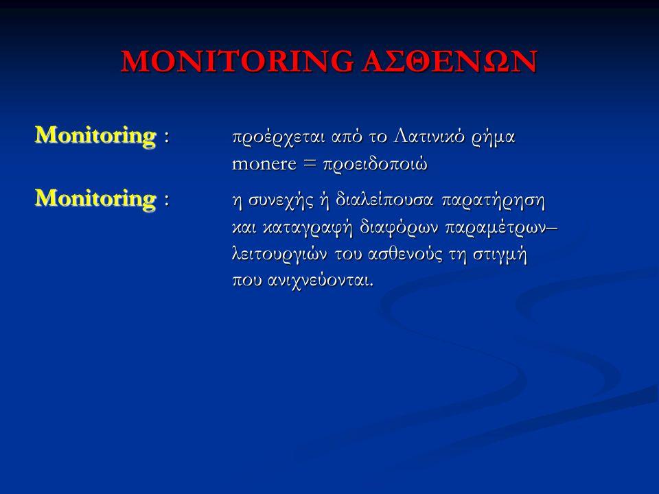 MONITORING ΑΣΘΕΝΩΝ Monitoring : προέρχεται από το Λατινικό ρήμα monere = προειδοποιώ.