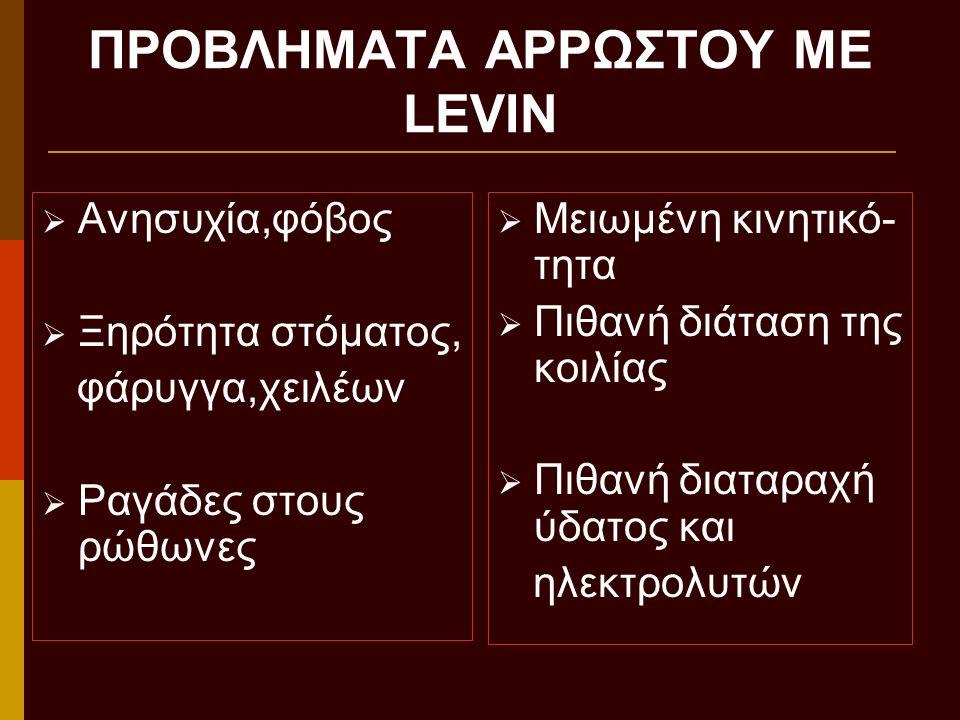 ΠΡΟΒΛΗΜΑΤΑ ΑΡΡΩΣΤΟΥ ΜΕ LEVIN
