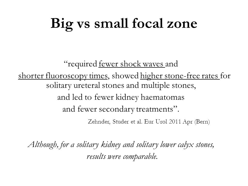 Big vs small focal zone required fewer shock waves and