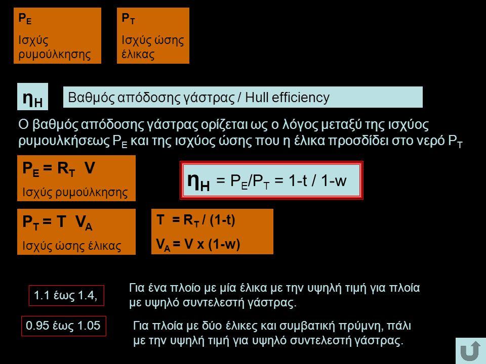 ηΗ = PE/PT = 1-t / 1-w ηΗ PE = RT V PT = T VA
