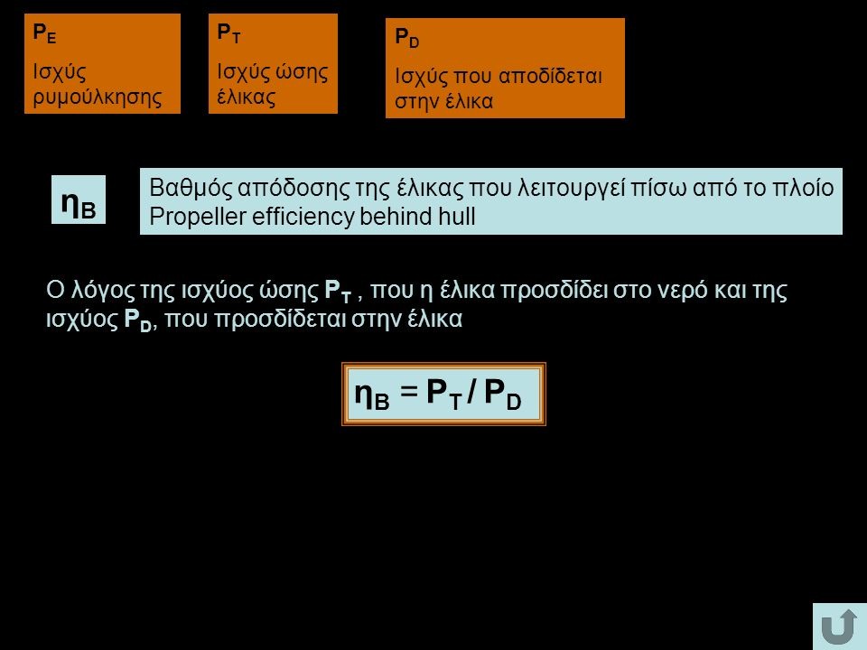 PE Ισχύς ρυμούλκησης. PT. Ισχύς ώσης έλικας. PD. Ισχύς που αποδίδεται στην έλικα. Βαθμός απόδοσης της έλικας που λειτουργεί πίσω από το πλοίο.