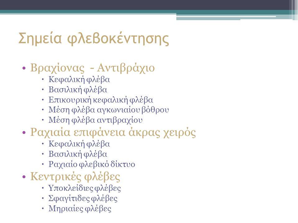 Σημεία φλεβοκέντησης Βραχίονας - Αντιβράχιο