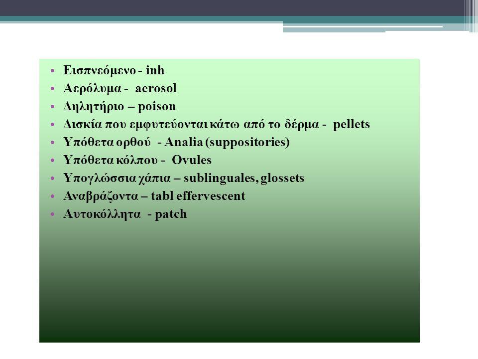 Εισπνεόμενο - inh Αερόλυμα - aerosol. Δηλητήριο – poison. Δισκία που εμφυτεύονται κάτω από το δέρμα - pellets.