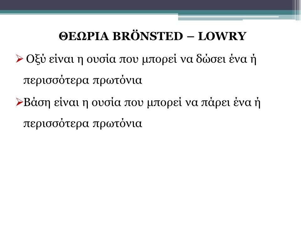 ΘΕΩΡΙΑ BRÖNSTED – LOWRY