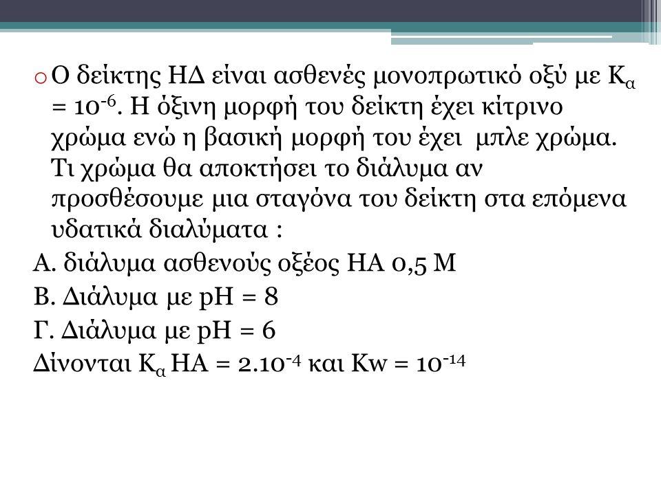 Ο δείκτης ΗΔ είναι ασθενές μονοπρωτικό οξύ με Κα = 10-6