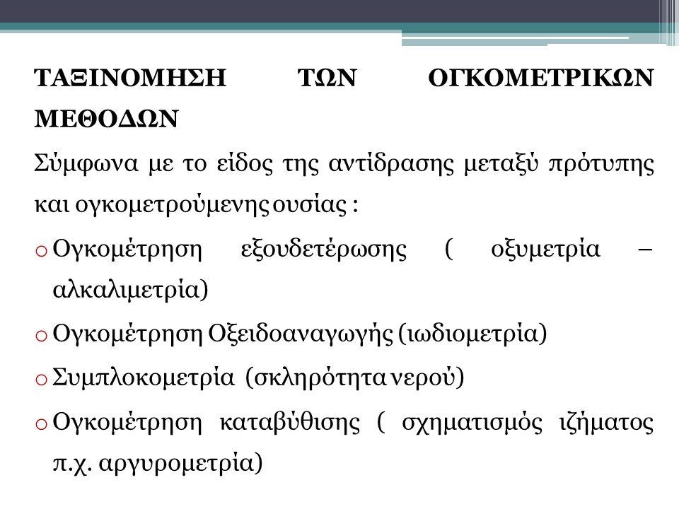 ΤΑΞΙΝΟΜΗΣΗ ΤΩΝ ΟΓΚΟΜΕΤΡΙΚΩΝ ΜΕΘΟΔΩΝ