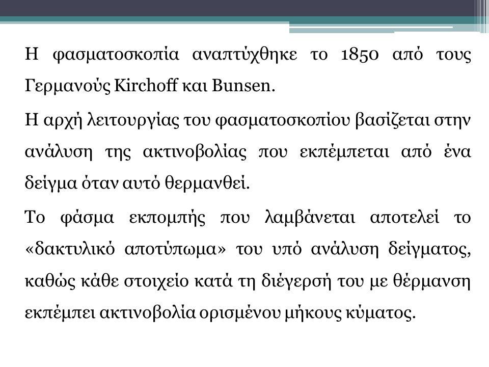 Η φασματοσκοπία αναπτύχθηκε το 1850 από τους Γερμανούς Kirchoff και Bunsen.
