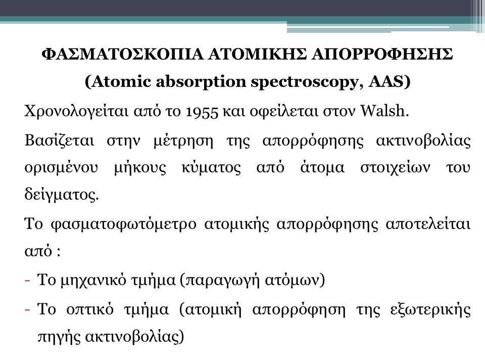 ΦΑΣΜΑΤΟΣΚΟΠΙΑ ΑΤΟΜΙΚΗΣ ΑΠΟΡΡΟΦΗΣΗΣ (Atomic absorption spectroscopy, AAS)