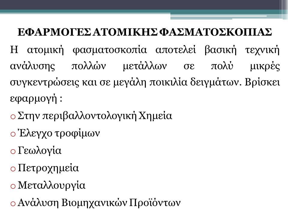 ΕΦΑΡΜΟΓΕΣ ΑΤΟΜΙΚΗΣ ΦΑΣΜΑΤΟΣΚΟΠΙΑΣ