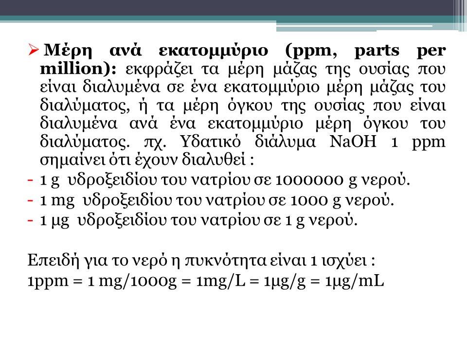 Μέρη ανά εκατομμύριο (ppm, parts per million): εκφράζει τα μέρη μάζας της ουσίας που είναι διαλυμένα σε ένα εκατομμύριο μέρη μάζας του διαλύματος, ή τα μέρη όγκου της ουσίας που είναι διαλυμένα ανά ένα εκατομμύριο μέρη όγκου του διαλύματος. πχ. Υδατικό διάλυμα NaOH 1 ppm σημαίνει ότι έχουν διαλυθεί :