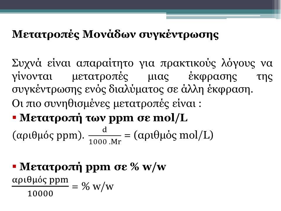 αριθμός ppm 10000 = % w/w Μετατροπές Μονάδων συγκέντρωσης
