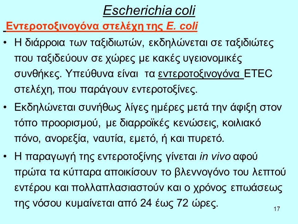 Escherichia coli Εντεροτοξινογόνα στελέχη της Ε. coli.
