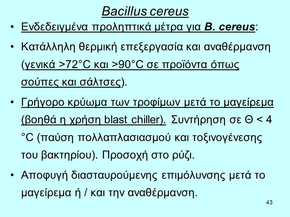 Bacillus cereus Ενδεδειγμένα προληπτικά μέτρα για B. cereus: