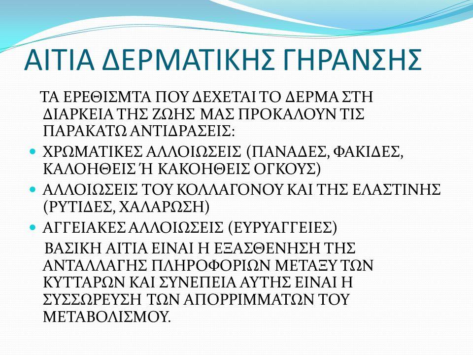 ΑΙΤΙΑ ΔΕΡΜΑΤΙΚΗΣ ΓΗΡΑΝΣΗΣ