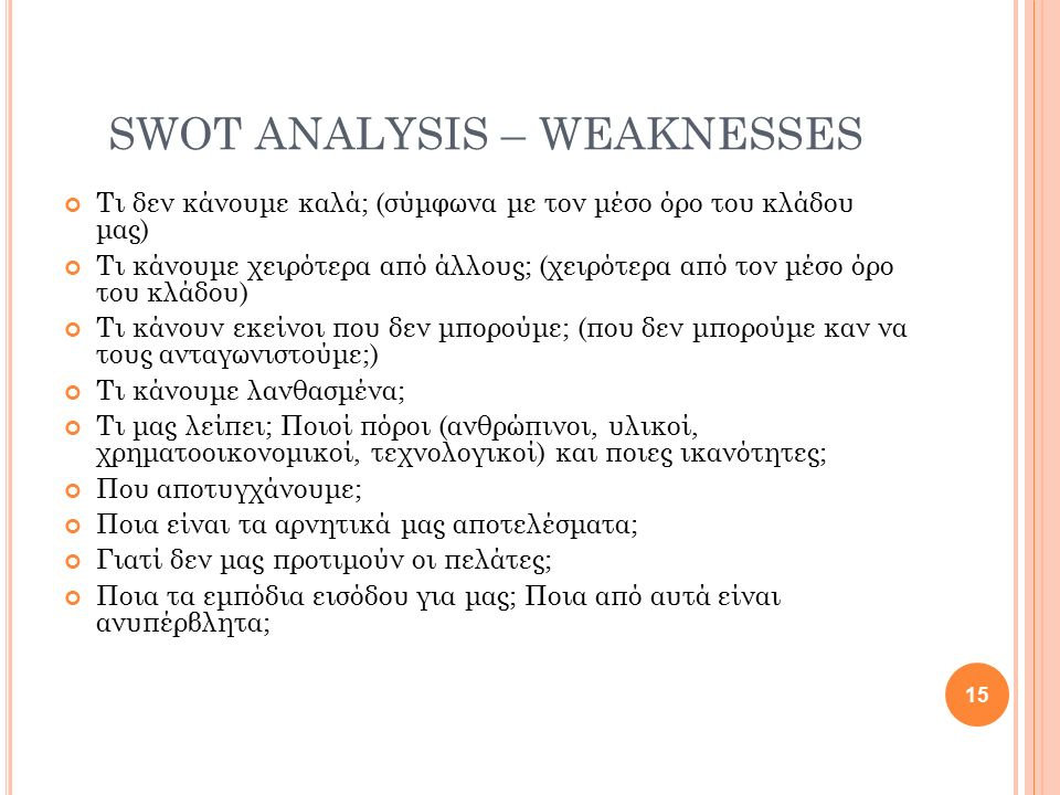 SWOT ANALYSIS – WEAKNESSES