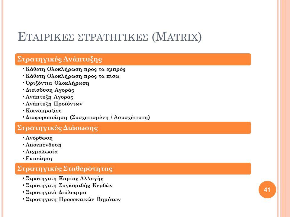 Εταιρικες ςτρατηγιΚΕΣ (Matrix)