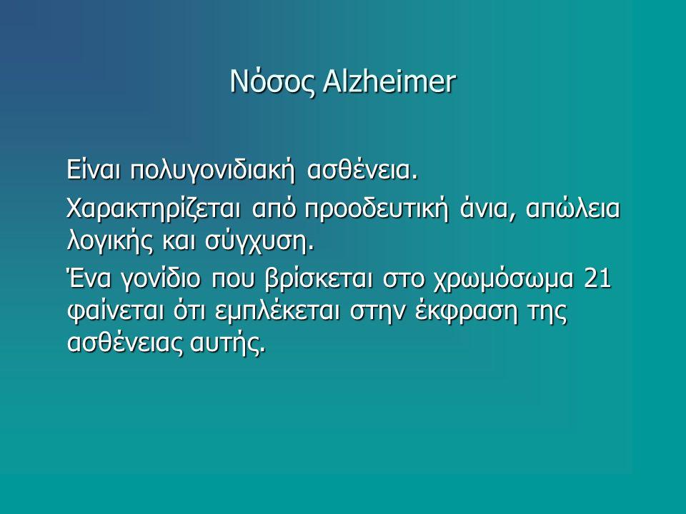 Νόσος Alzheimer Είναι πολυγονιδιακή ασθένεια.