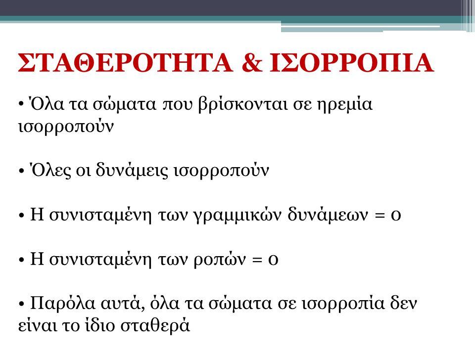 ΣΤΑΘΕΡΟΤΗΤΑ & ΙΣΟΡΡΟΠΙΑ