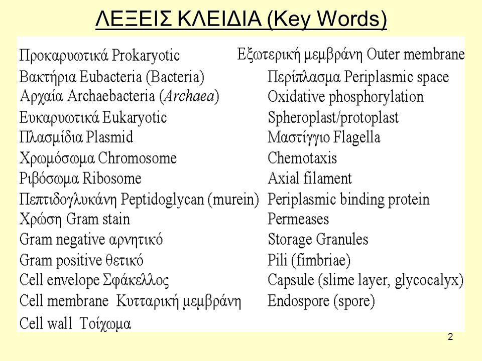 ΛΕΞΕΙΣ ΚΛΕΙΔΙΑ (Key Words)