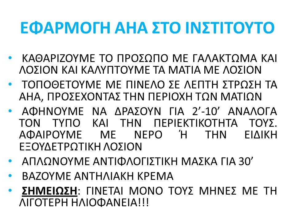 ΕΦΑΡΜΟΓΗ ΑΗΑ ΣΤΟ ΙΝΣΤΙΤΟΥΤΟ