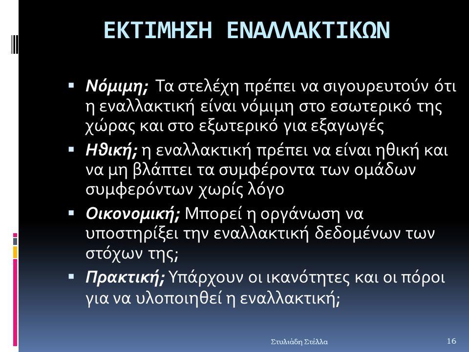 ΕΚΤΙΜΗΣΗ ΕΝΑΛΛΑΚΤΙΚΩΝ