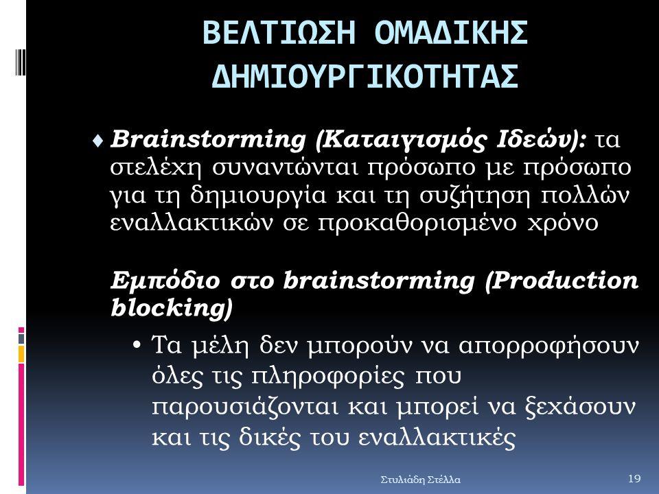 ΒΕΛΤΙΩΣΗ ΟΜΑΔΙΚΗΣ ΔΗΜΙΟΥΡΓΙΚΟΤΗΤΑΣ