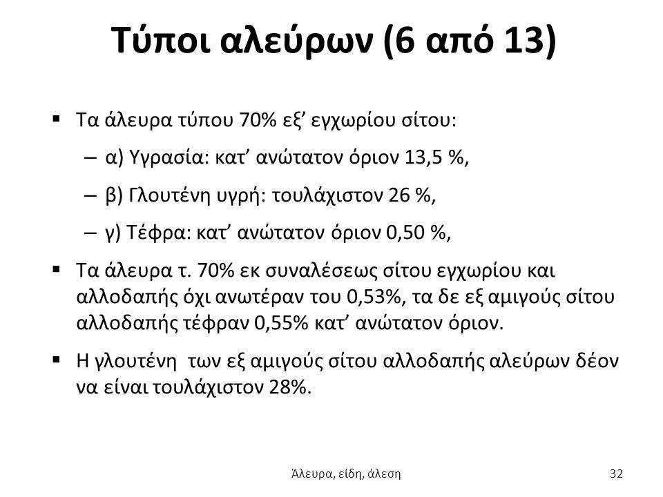 Τύποι αλεύρων (6 από 13) Τα άλευρα τύπου 70% εξ' εγχωρίου σίτου: