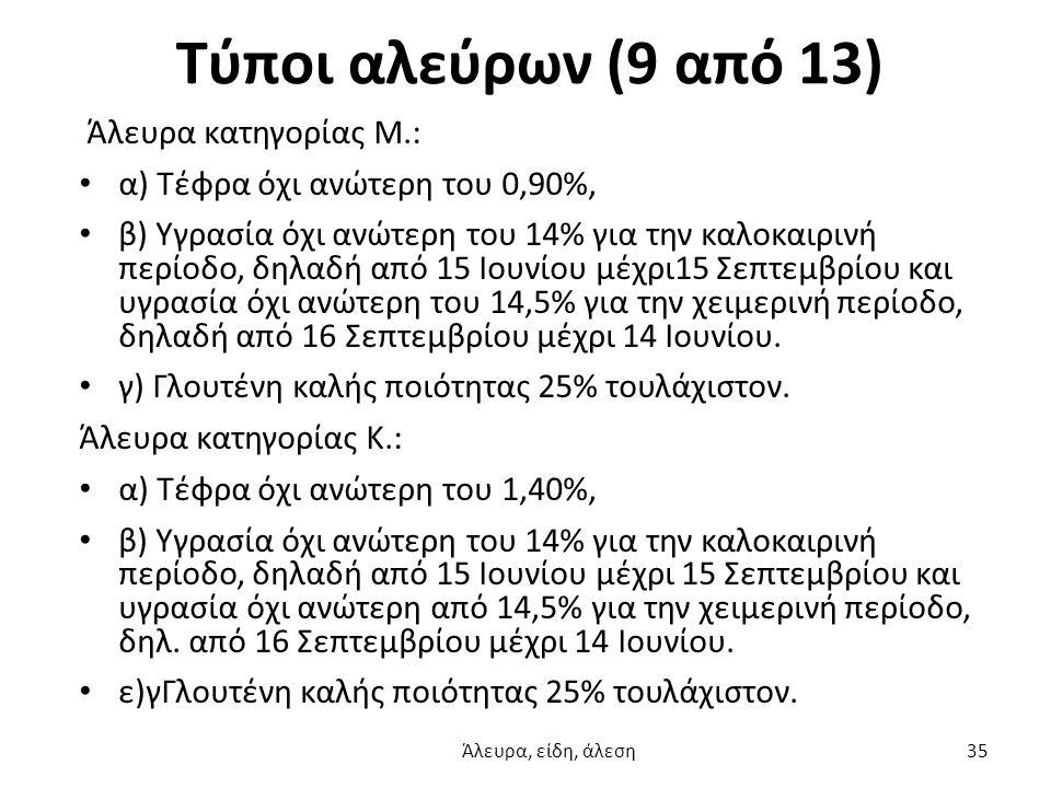Τύποι αλεύρων (9 από 13) Άλευρα κατηγορίας Μ.:
