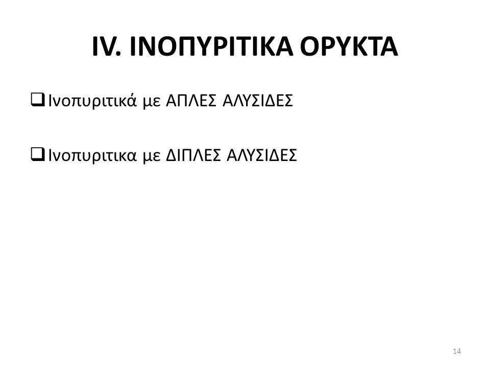 IV. INOΠΥΡΙΤΙΚΑ ΟΡΥΚΤΑ Ινοπυριτικά με ΑΠΛΕΣ ΑΛΥΣΙΔΕΣ