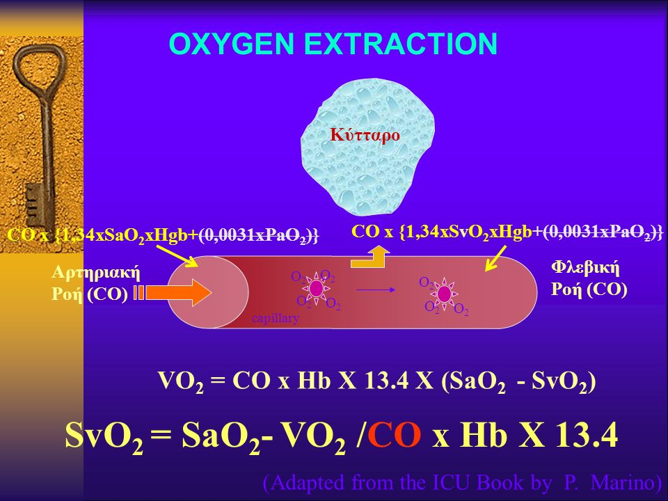 SvO2 = SaO2- VO2 /CO x Hb X 13.4 OXYGEN EXTRACTION