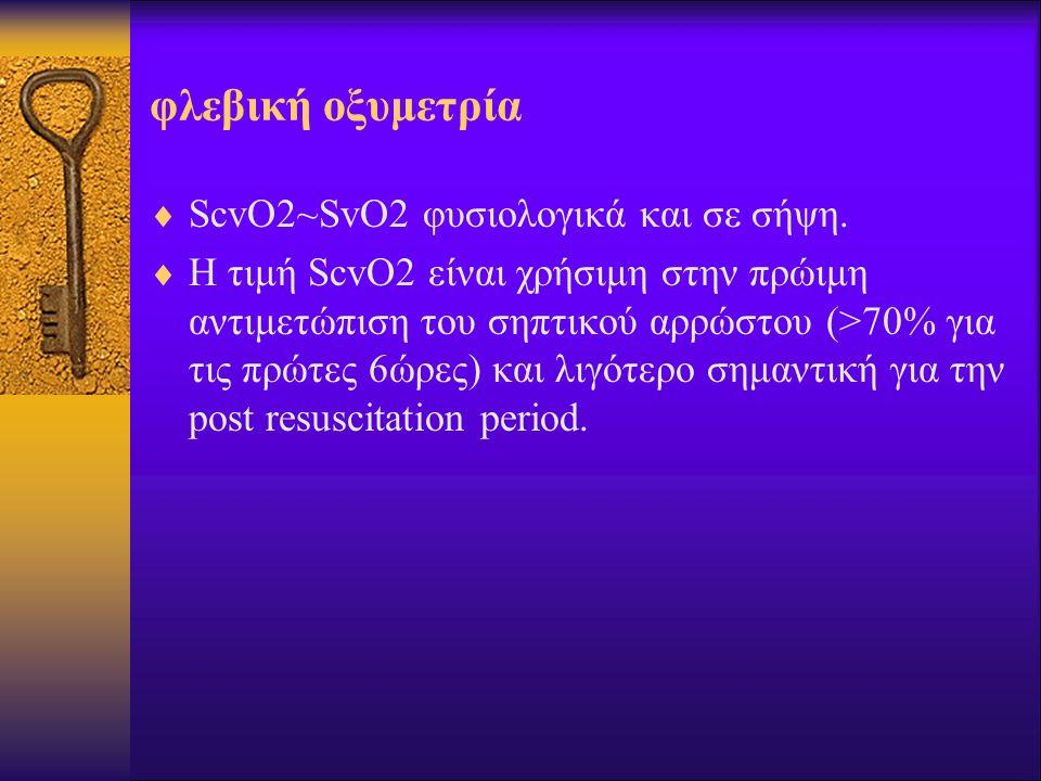φλεβική οξυμετρία ScvO2~SvO2 φυσιολογικά και σε σήψη.