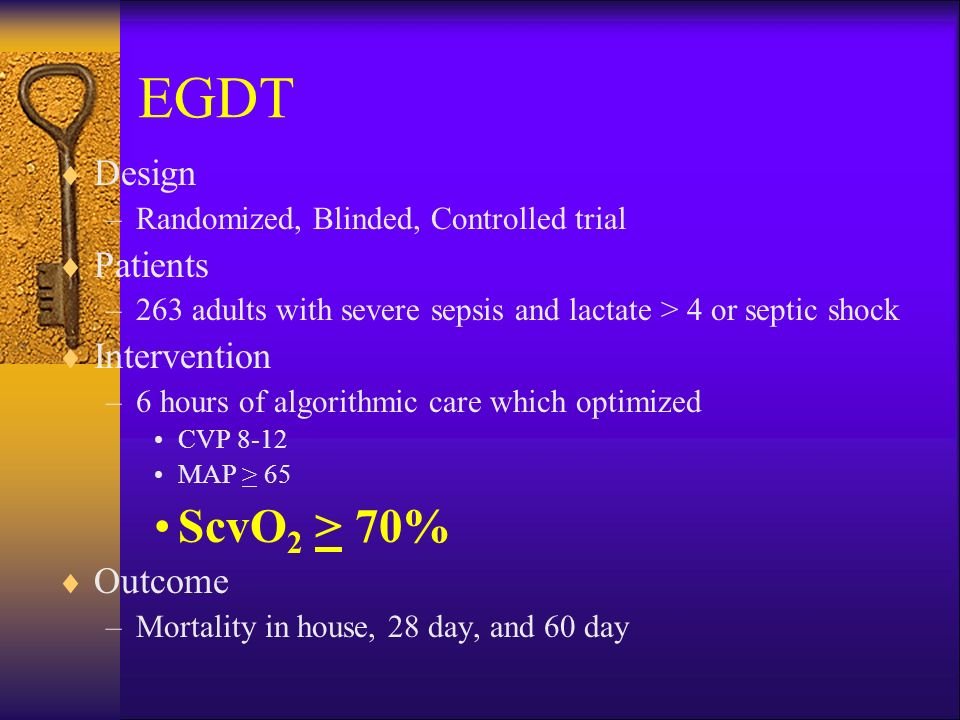 EGDT ScvO2 > 70% Design Patients Intervention Outcome