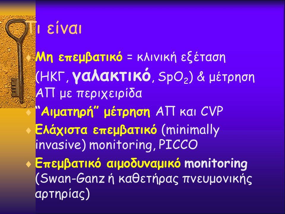 Τι είναι Μη επεμβατικό = κλινική εξέταση (ΗΚΓ, γαλακτικό, SpO2) & μέτρηση ΑΠ με περιχειρίδα. Αιματηρή μέτρηση ΑΠ και CVP.