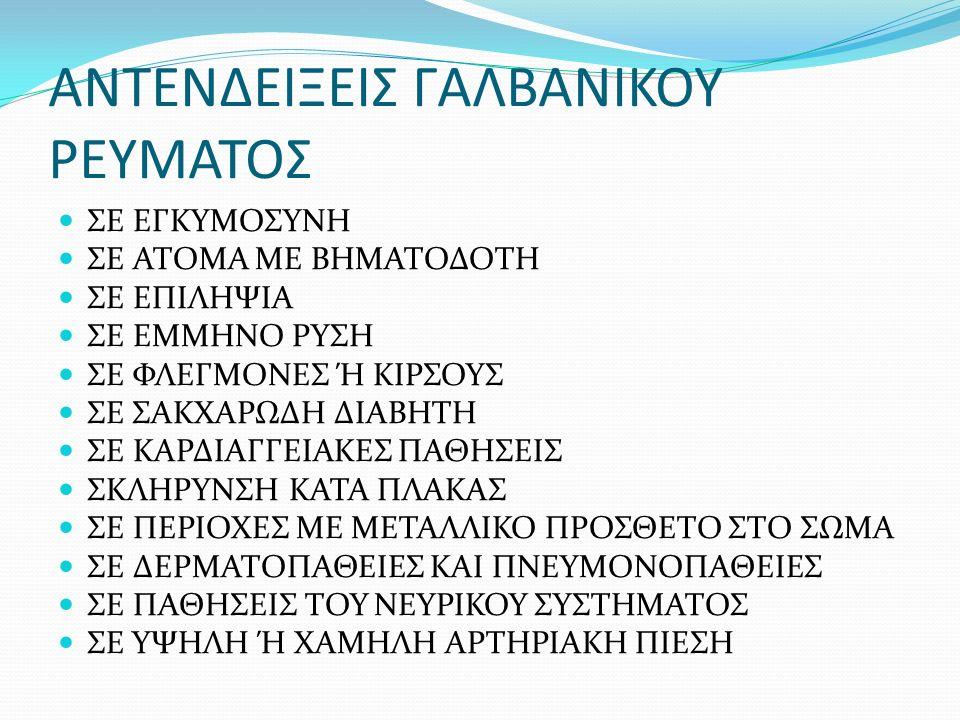 ΑΝΤΕΝΔΕΙΞΕΙΣ ΓΑΛΒΑΝΙΚΟΥ ΡΕΥΜΑΤΟΣ