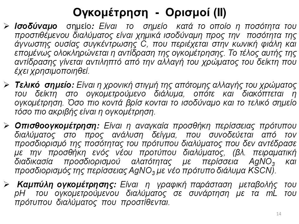 Ογκομέτρηση - Ορισμοί (ΙΙ)