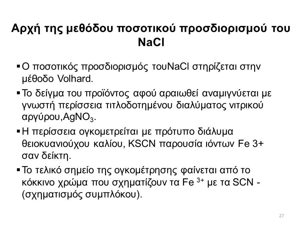 Αρχή της μεθόδου ποσοτικού προσδιορισμού του NaCl
