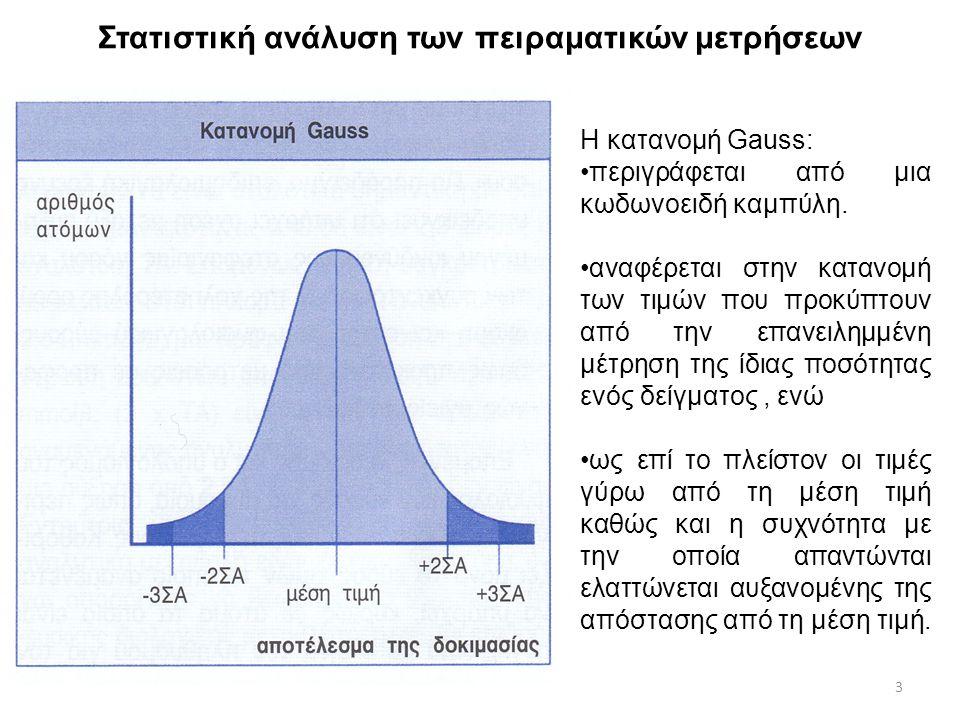 Στατιστική ανάλυση των πειραματικών μετρήσεων