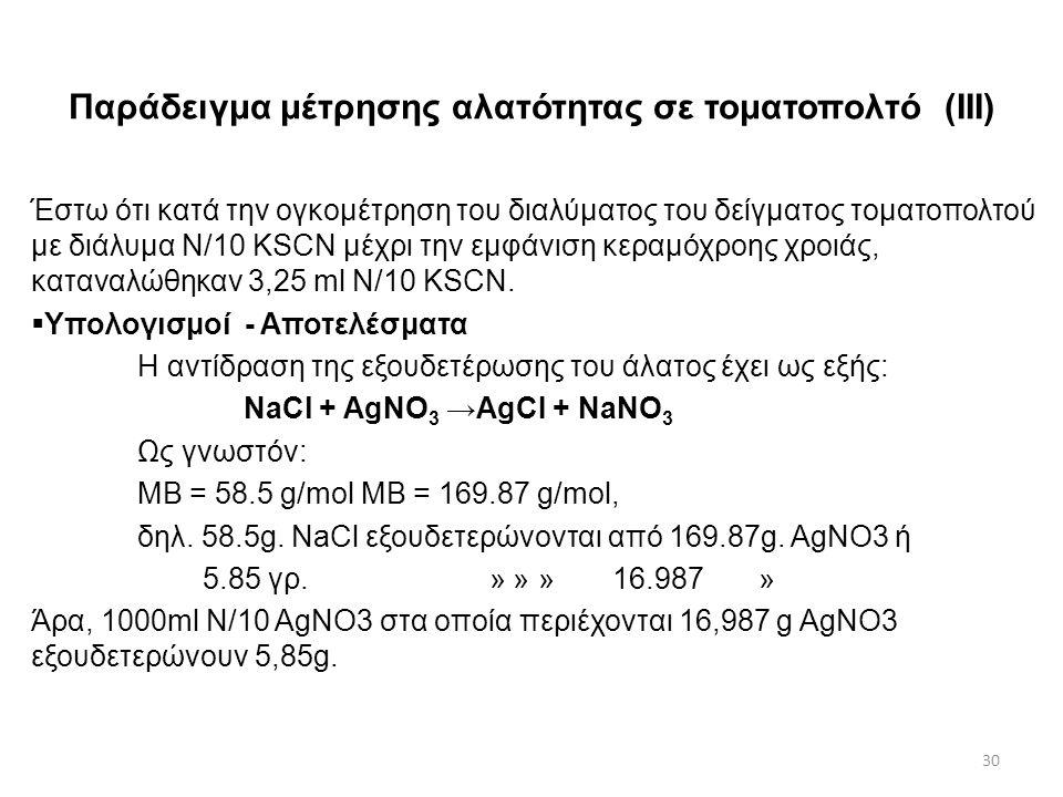 Παράδειγμα μέτρησης αλατότητας σε τοματοπολτό (ΙII)