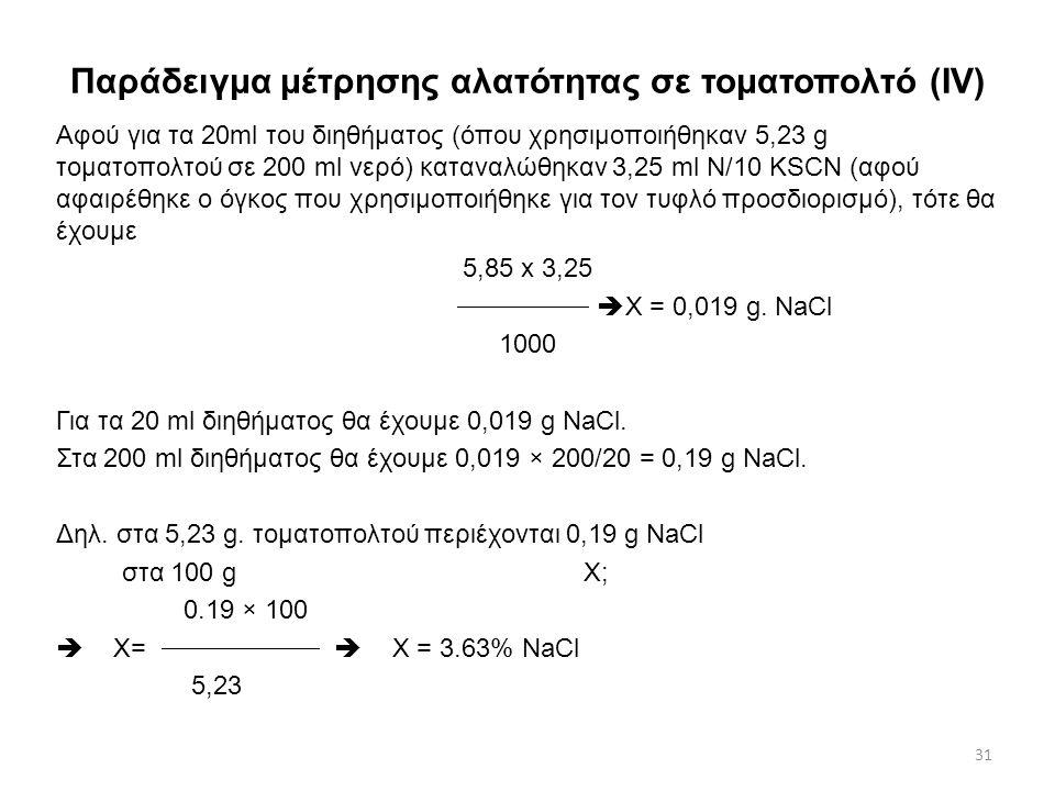 Παράδειγμα μέτρησης αλατότητας σε τοματοπολτό (ΙV)